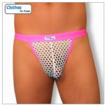 Mens G String - Hot Pink- White Mesh